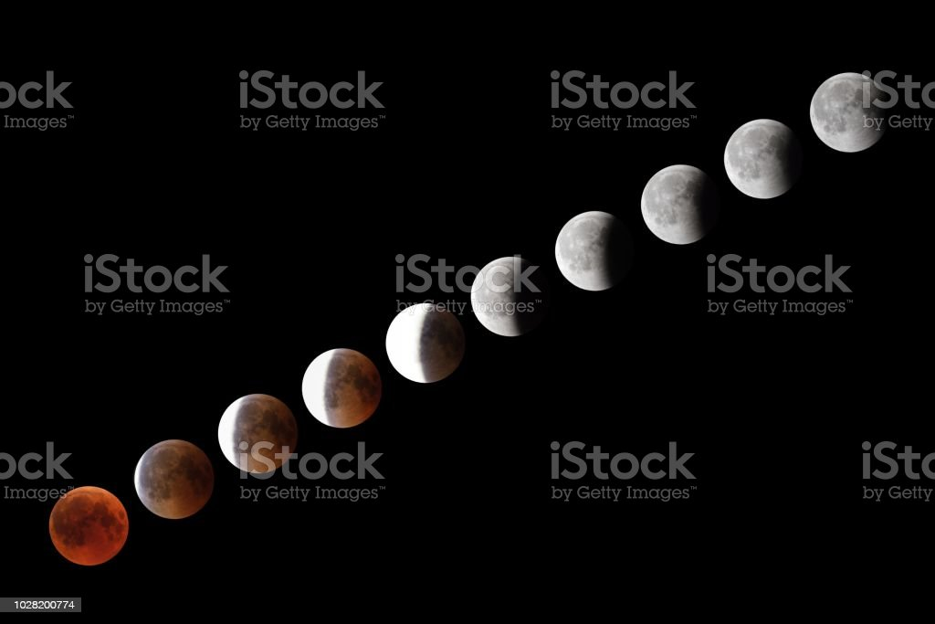 Phases of full eclipse of the Moon stock photo