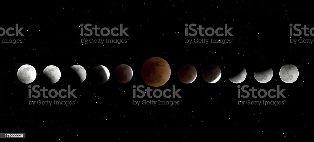 Phases of Lunar Eclipse stock photo