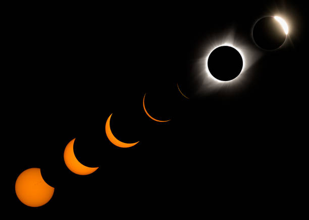 Phases of the 2017 Total Solar Eclipse stock photo