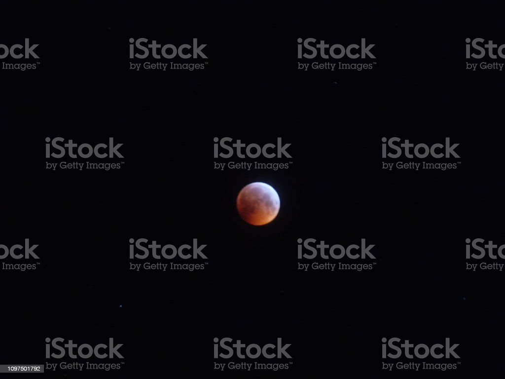 Phases of the lunar eclipse showing the Super blood wolf moon from...
