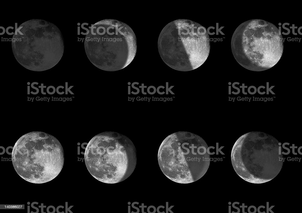 Phases of the moon stock photo