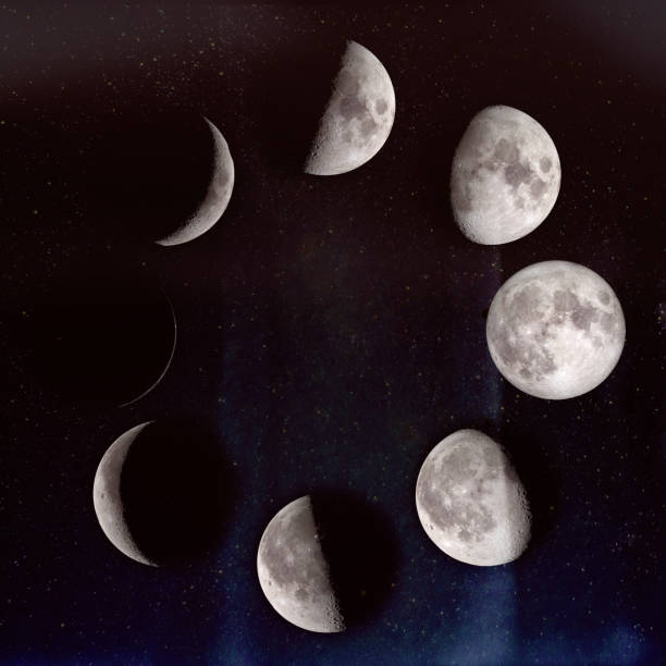 Phases of the Moon: waxing crescent, first quarter, waxing gibbous, full moon, waning gibbous, third guarter, waning crescent, new moon. On a starry sky. The elements of this image furnished by NASA. stock photo