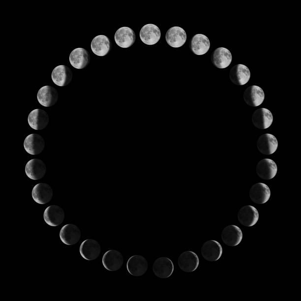 fasi lunari.ciclo lunare. - luna gibbosa foto e immagini stock