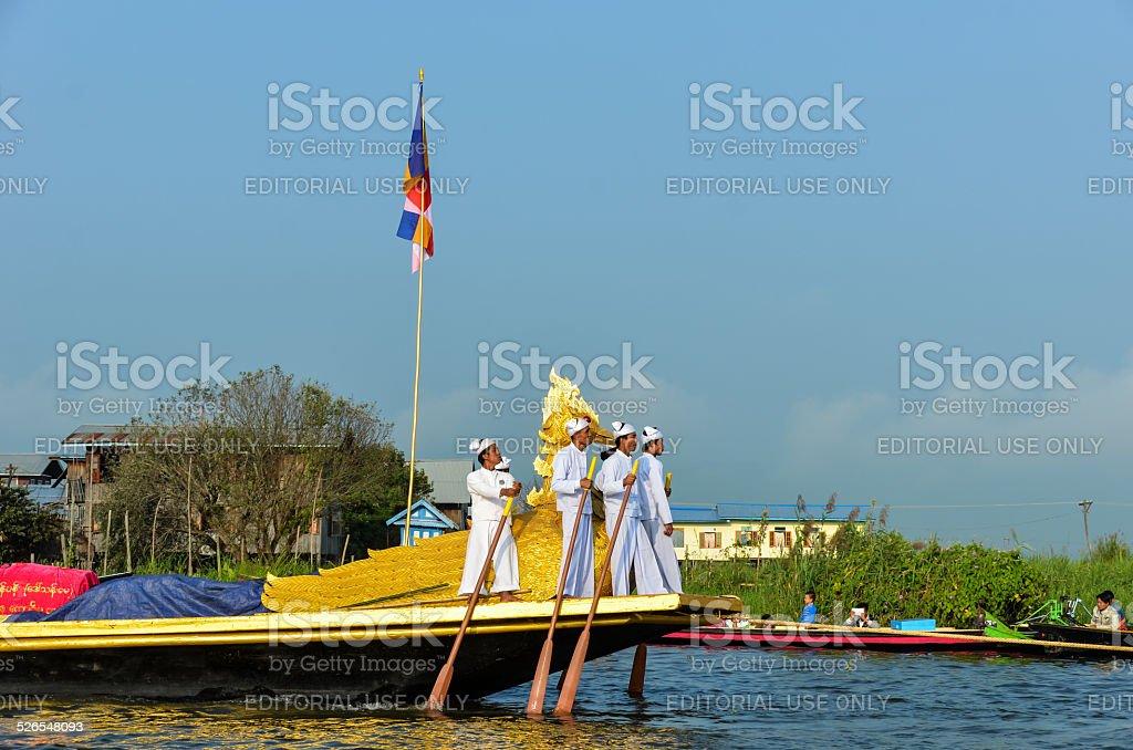 Phaung Daw U-Festival at the Inle Lake, Myanmar, Shan State stock photo