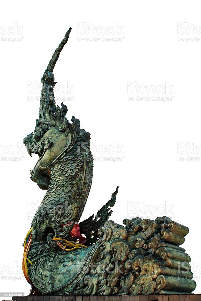 Phaya Naga statue background white stock photo