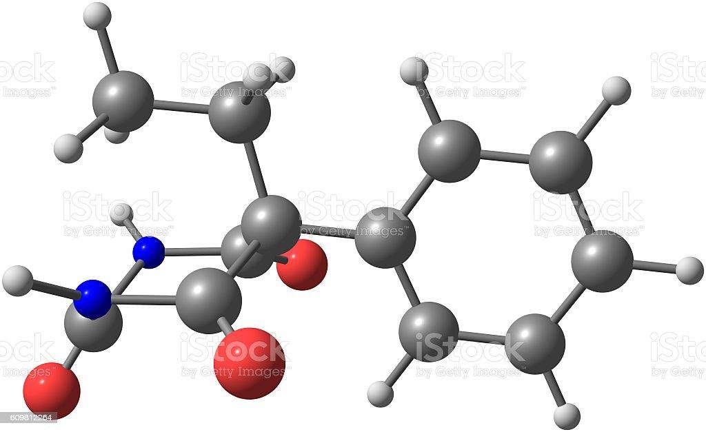 Phenobarbital molecular structure isolated on white stock photo