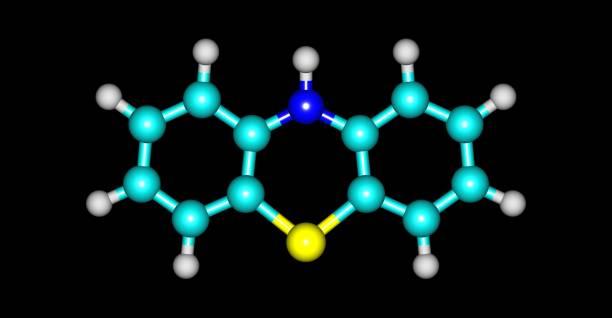 在黑色上分離的苯噻嗪分子結構 - naegleria fowleri 個照片及圖片檔