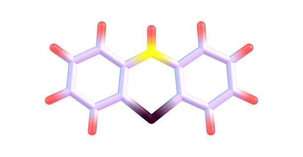 在白色上分離的苯噻嗪分子結構 - naegleria fowleri 個照片及圖片檔