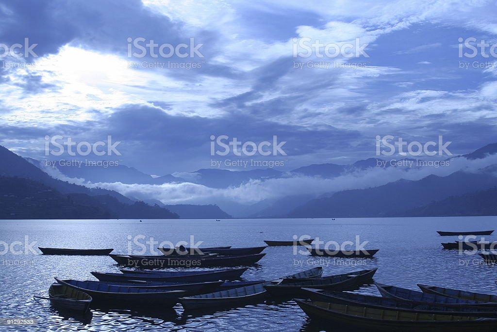 Phewa Lake in Pokhara, Nepal. royalty-free stock photo