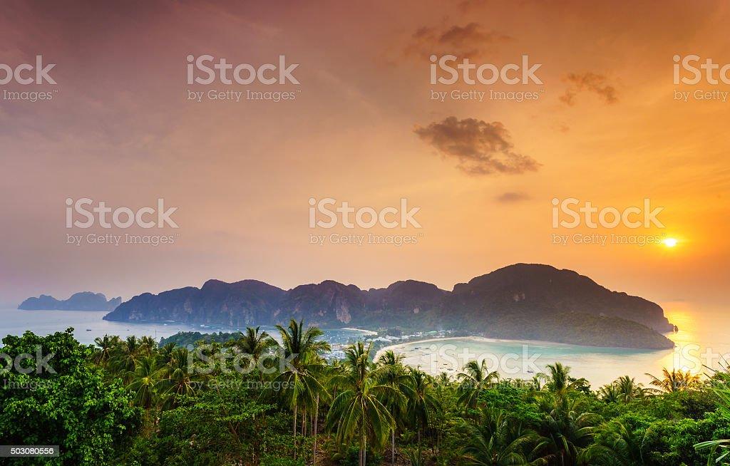 Phi phi island, Krabi, Southern of Thailand stock photo
