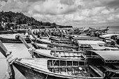 Phi Phi, Thailand - Jul 4, 2015 - Wooden tailboats near  Phi Phi island