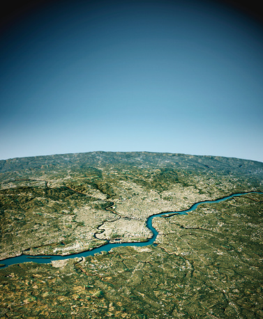 3D Render of a Topographic Map of Philadelphia, Pennsylvania, USA.