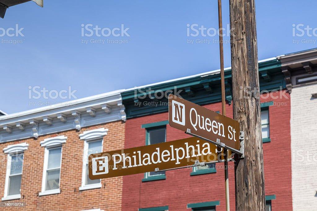 Philadelphia and Queen Street in York, Pennsylvania stock photo