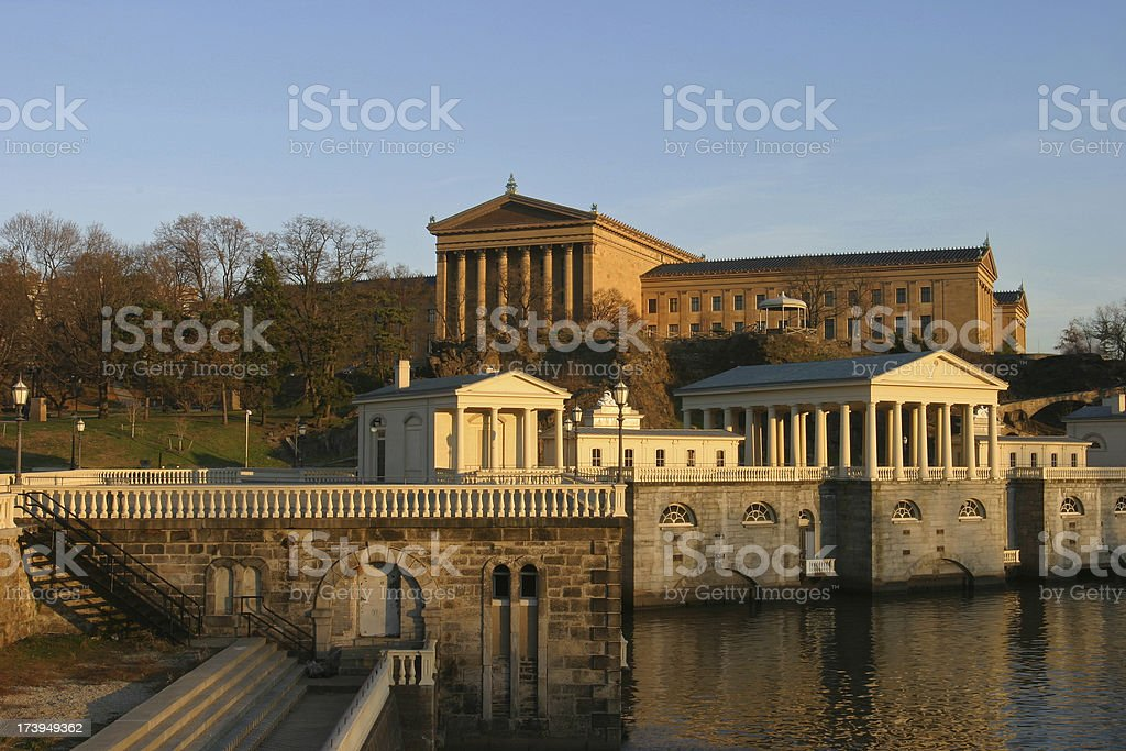 Philadelphia Art Museum and Water Works stock photo