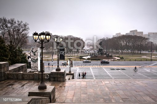 Philadelphia, Pa. USA, Dec. 2, 2018: Philadelphia Art Museum Rocky steps with street lights, Philadelphia, Pa. USA
