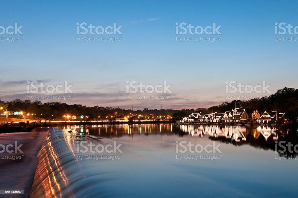 Philadelphia boathouse row on Schuylkill River stock photo