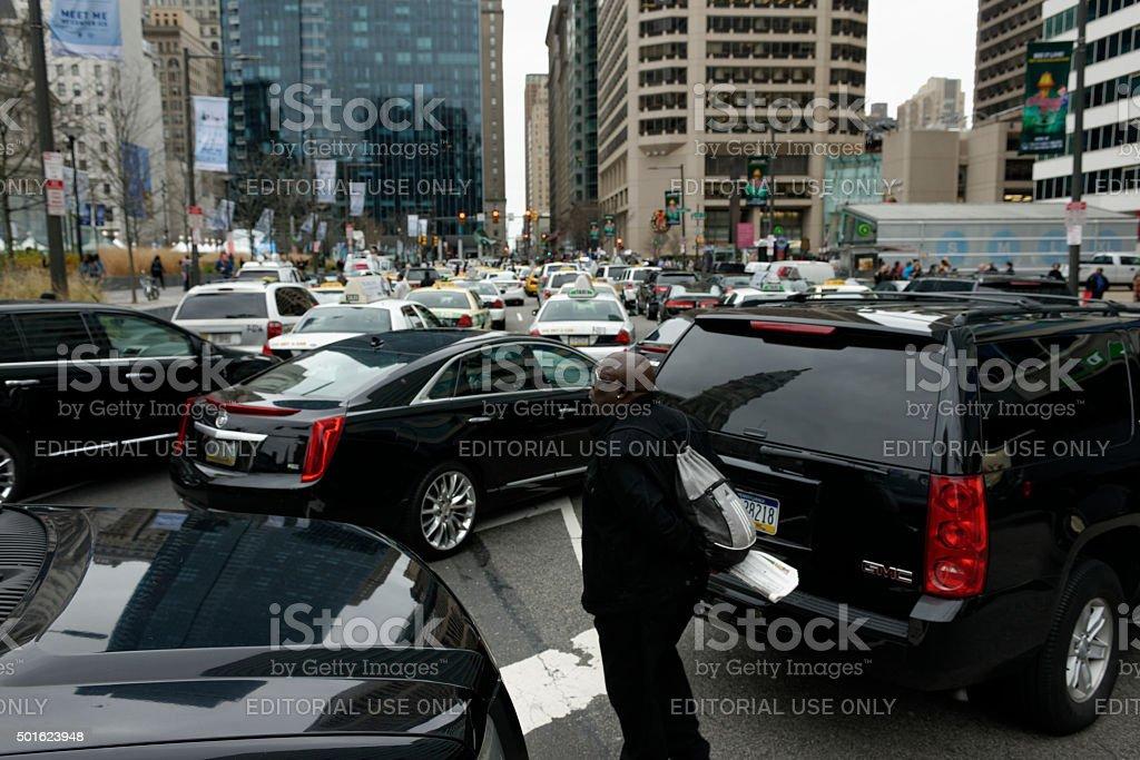Philadelphia cab and limousine drivers protest cheaper alternatives stock photo