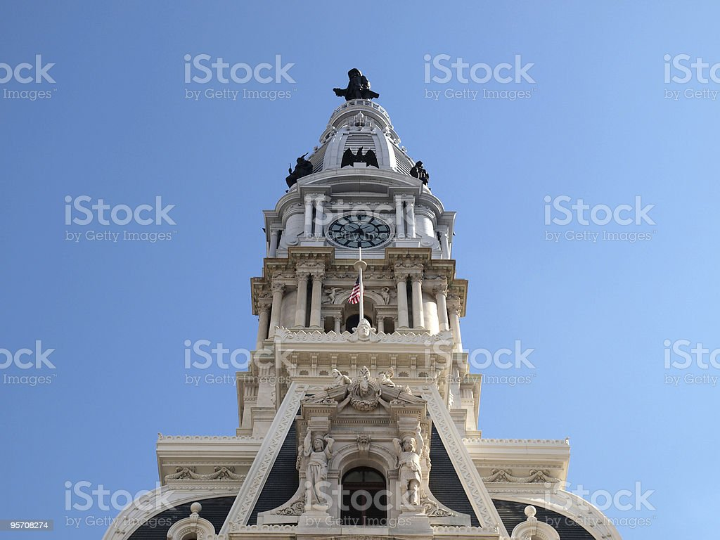 Philadelphia City Hall Tower royalty-free stock photo
