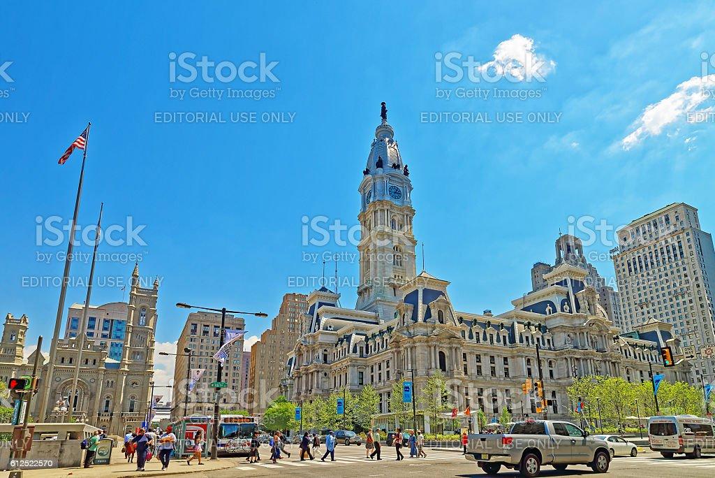 Philadelphia City Hall with William Penn figure atop the Tower stock photo