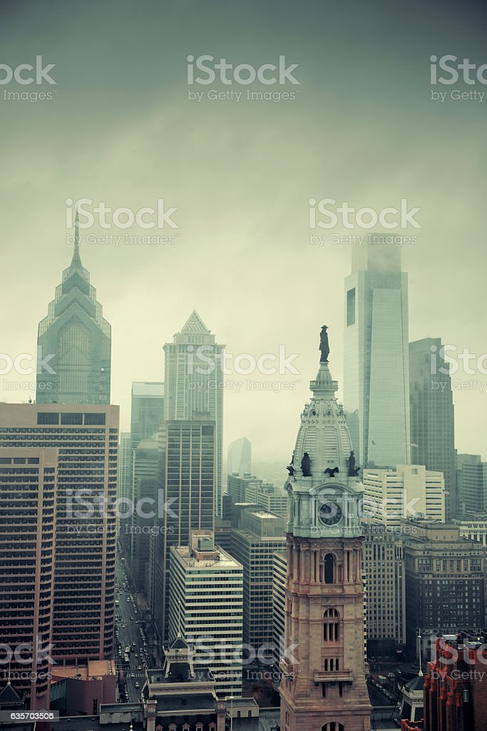 Philadelphia city rooftop royalty-free stock photo