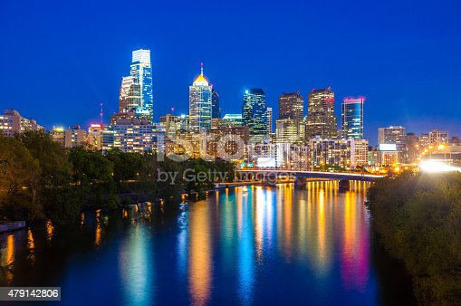 Downtown Philadephia skyline and the Schuylkill River during the evening.
