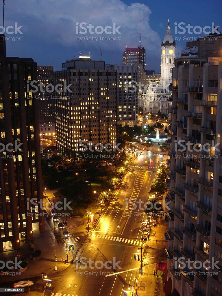 Philadelphia Downtown in the Night stock photo