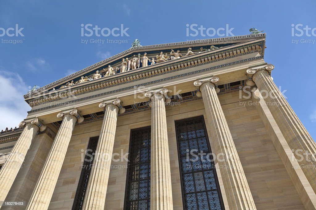 Philadelphia Museum of Art Close-up of Columns and Windows stock photo