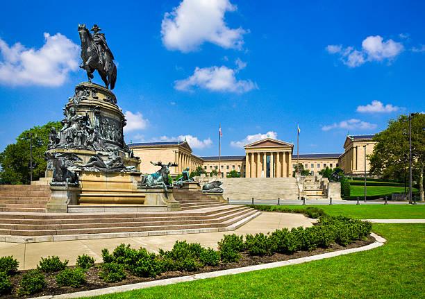 Philadelphia Museum of Art, Pennsylvania, Washington Monument Statue, Eakins Oval stock photo