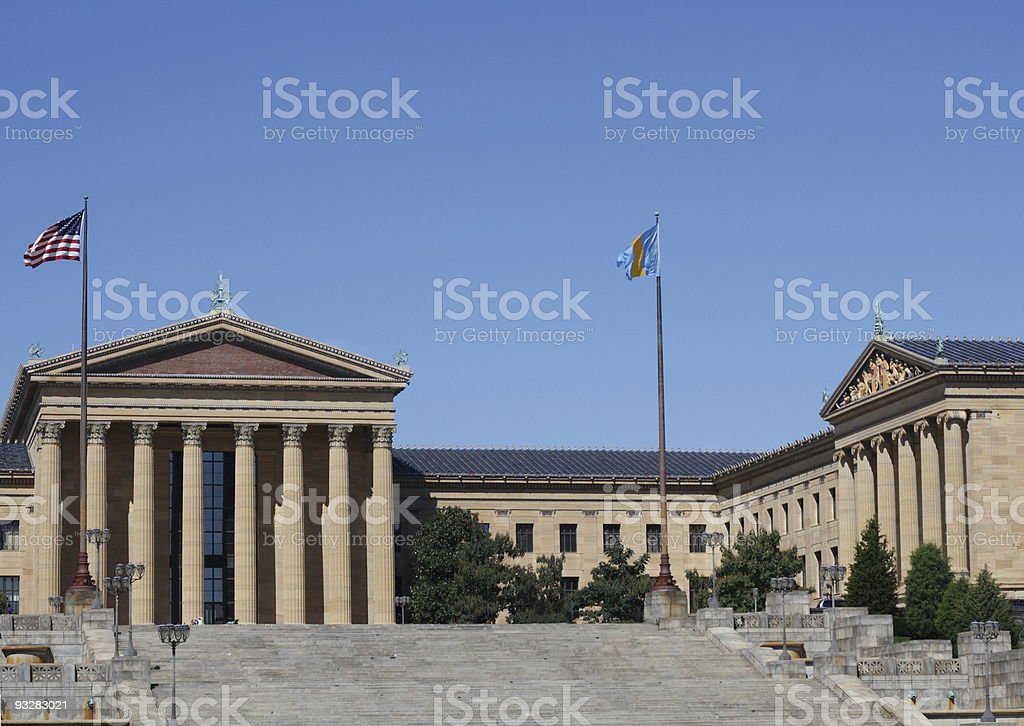 Philadelphia Museum of Art with two flags flying stock photo