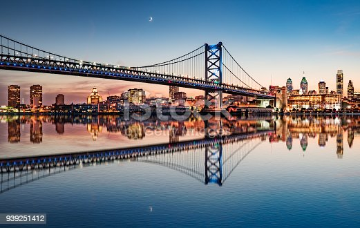 Philadelphia night skyline and Ben Franklin Bridge refection from across the Delaware River