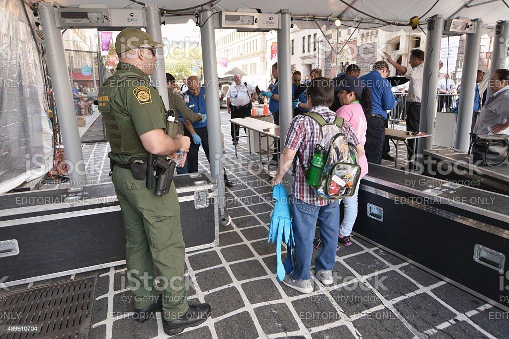 Philadelphia on Security Lock-down ahead of Historic Papal Visit stock photo