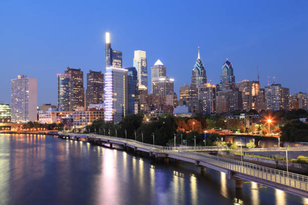 philadelphia, pa - philadelphia skyline stock photos and pictures