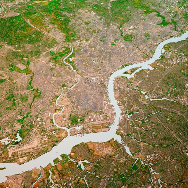 philadelphia pennsylvania 3d render map color top view avril 2019 - rivière delaware photos et images de collection