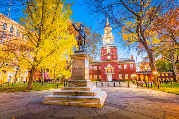 philadelphia, pennsylvania at independence hall - philadelphia skyline stock photos and pictures