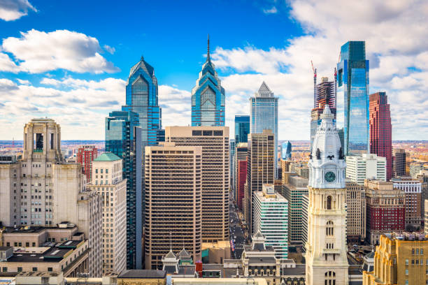 philadelphia, pennyslvania, usa skyline - philadelphia skyline stock photos and pictures