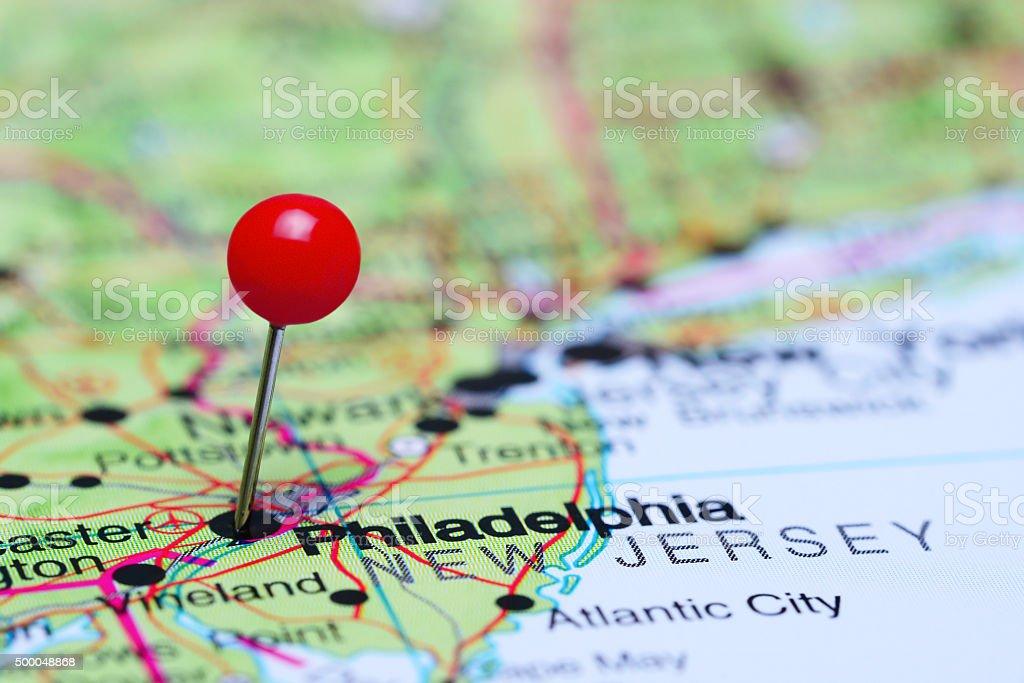 Philadelphia Pinned On A Map Of Usa Stock Photo IStock - Philadelphia map in usa