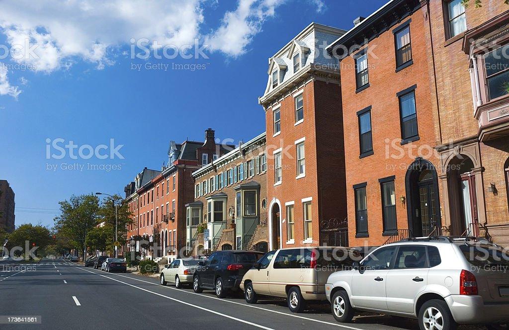 Philadelphia rowhouses stock photo