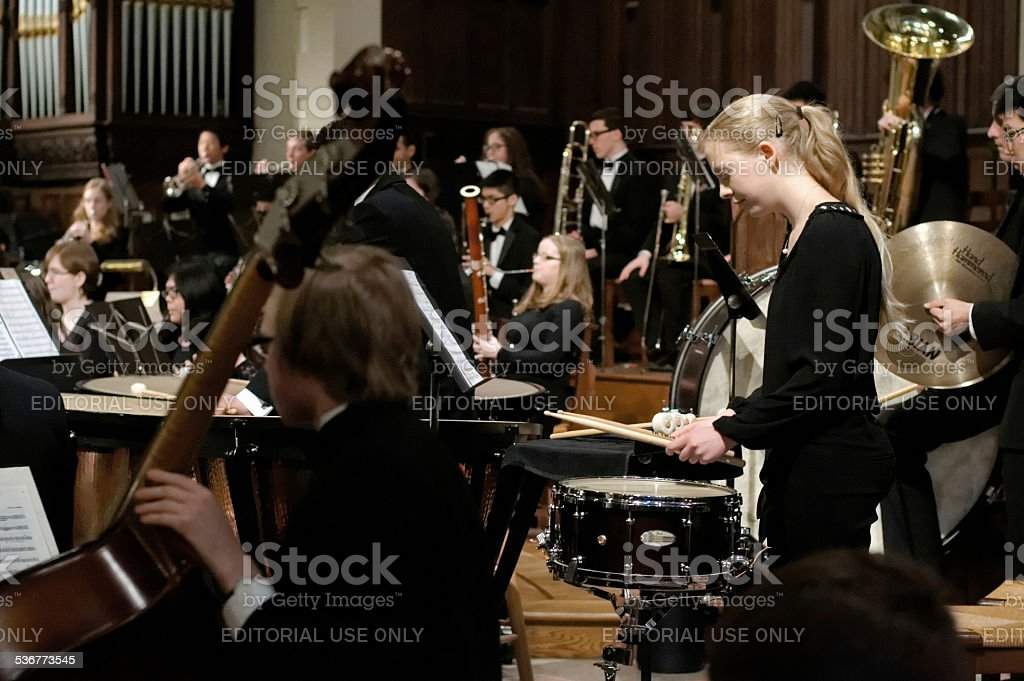 Philadelphia Sinfonia Youth Orchestra plays for packed church stock photo