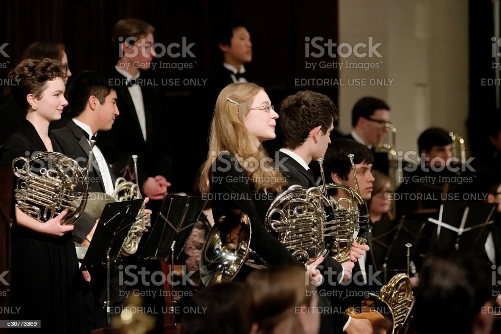 Philadelphia Sinfonia Youth Orchestra plays packed church stock photo