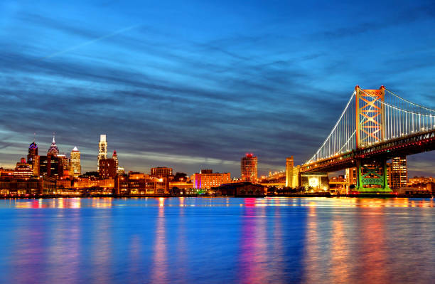 philadelphia skyline along the banks of the delaware river - philadelphia skyline stock photos and pictures