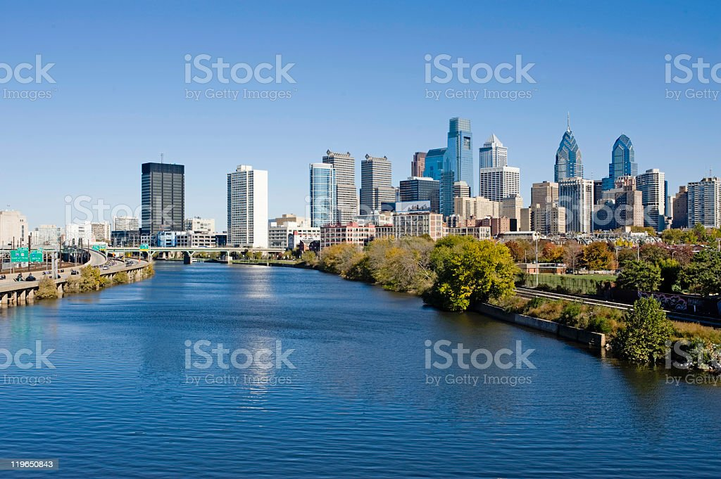 Philadelphia Skyline and Schuylkill river stock photo