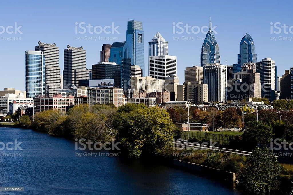 Philadelphia Skyline and Schuylkill river stock photo