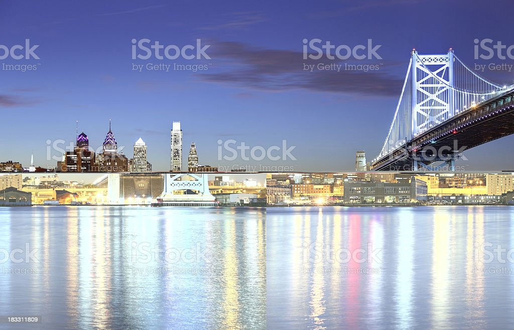 Philadelphia skyline and the Ben Franklin Bridge stock photo