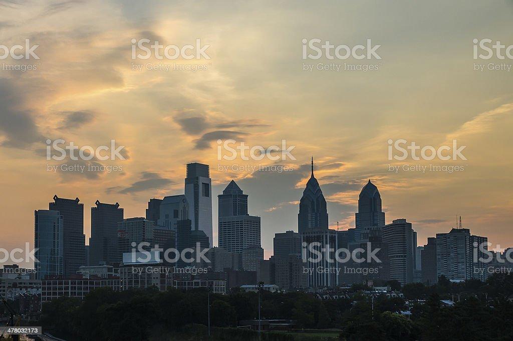 Philadelphia Skyline at Dawn stock photo