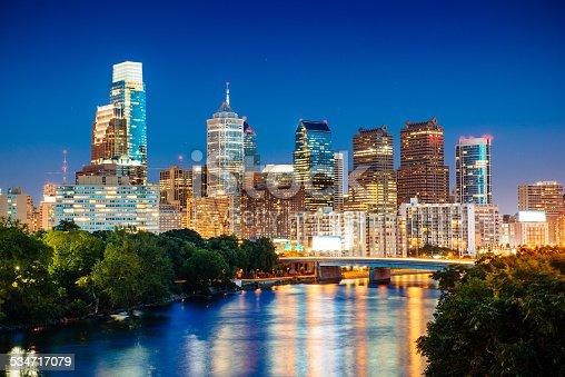 Philadelphia Skyline at dusk over Schuylkill river. Pennsylvania. USA.