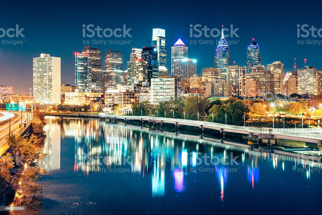 Philadelphia Skyline at dusk stock photo