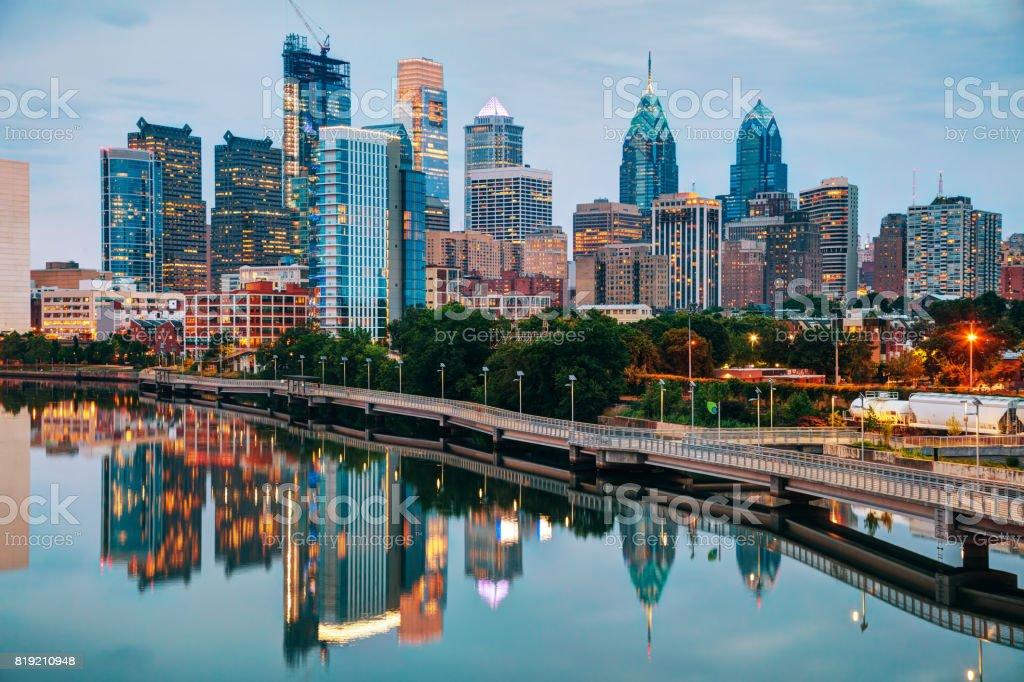 Philadelphia skyline at night stock photo