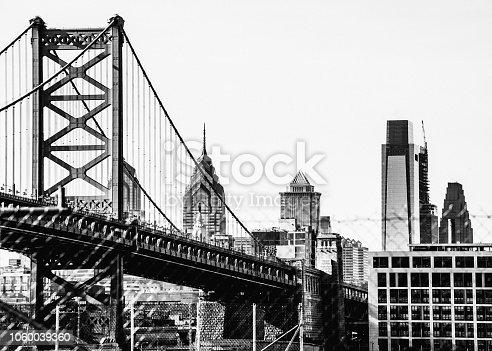 Philadelphia skyline behind the fence, Pennsylvania, USA