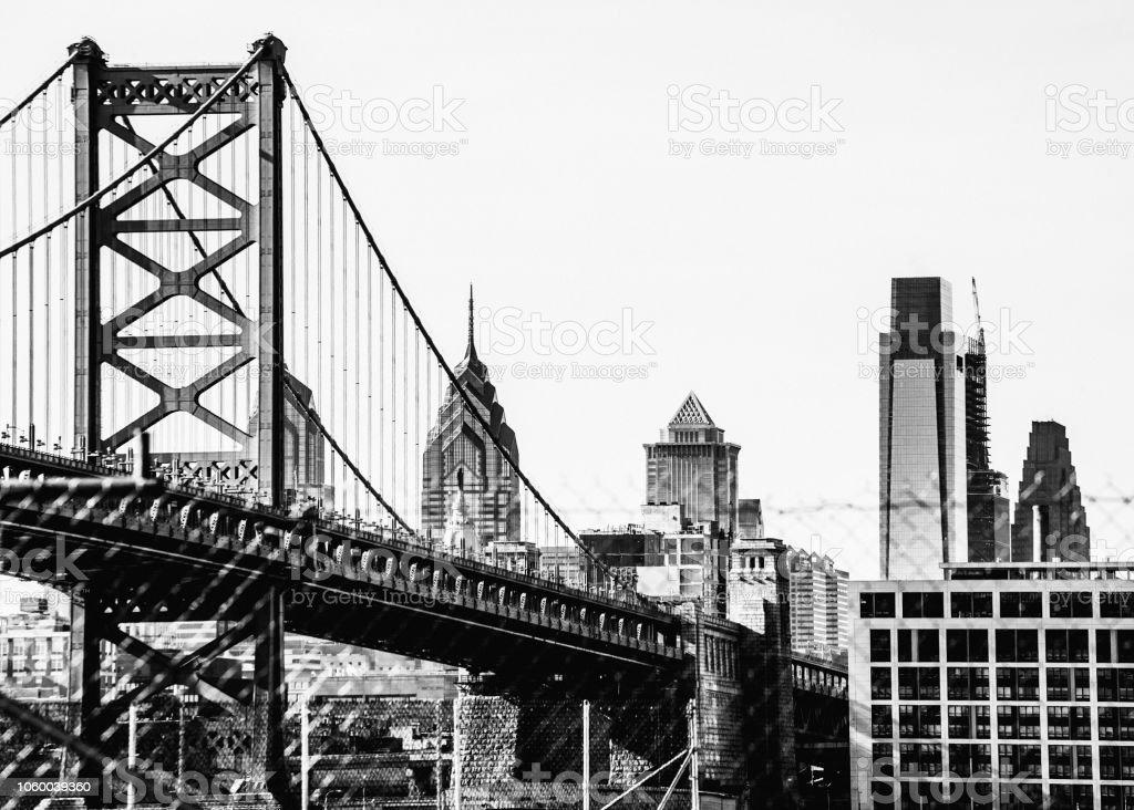 Philadelphia skyline behind the fence stock photo