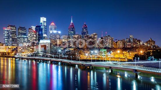 Philadelphia skyline by night reflected in Schuylkill river